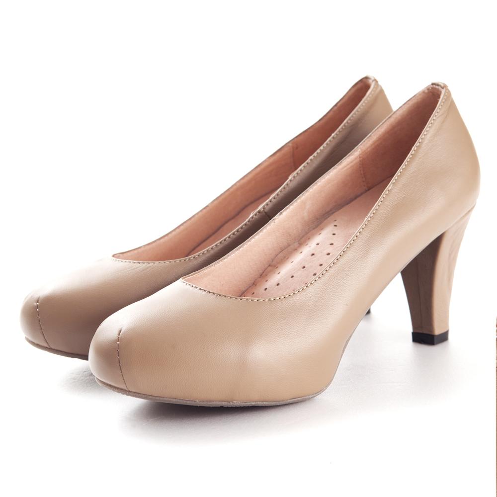 G.Ms.推薦通勤鞋‧靜音鞋跟真皮厚底粗跟包鞋‧可可灰