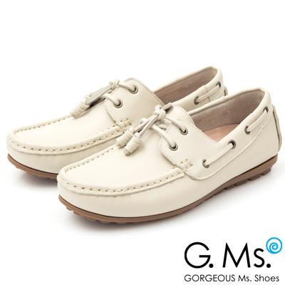 G.Ms. MIT情侶鞋系列-水洗牛皮帆船男鞋-米白