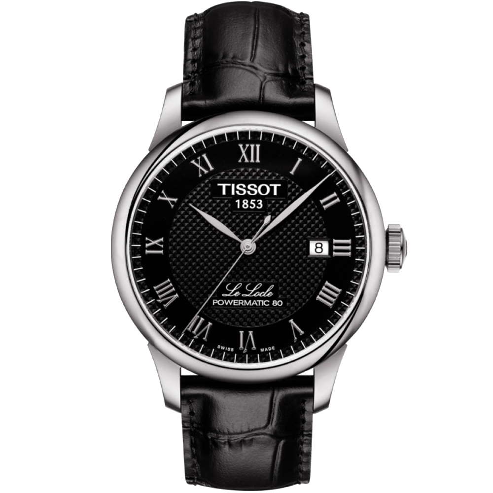 TISSOT 天梭 LE LOCLE 力洛克80動力儲存機械錶-黑/39mm