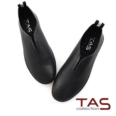 TAS-沖孔牛皮拼色後跟休閒鞋-街頭黑