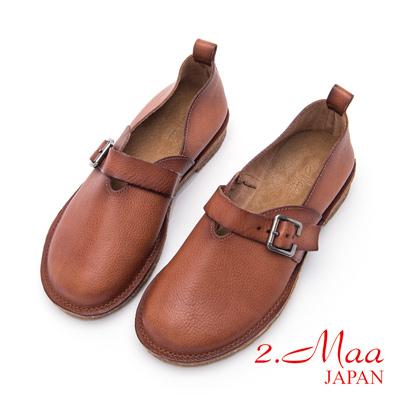 2.Maa-率性寬頭舒適牛皮低跟包鞋-棕