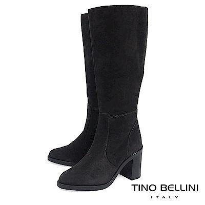 Tino Bellini 義大利進口麂皮寬筒高跟長靴_ 深灰