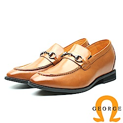 GEORGE 喬治-內增高系列 金屬扣環直套式皮鞋 男鞋-駝