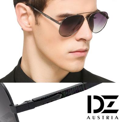 【2件59折】DZ 經典名仕 抗UV 偏光太陽眼鏡墨鏡(黑框漸層灰片)