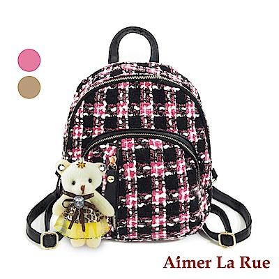 Aimer La Rue 後背包 學院格紋毛呢系列-贈小熊(二色)