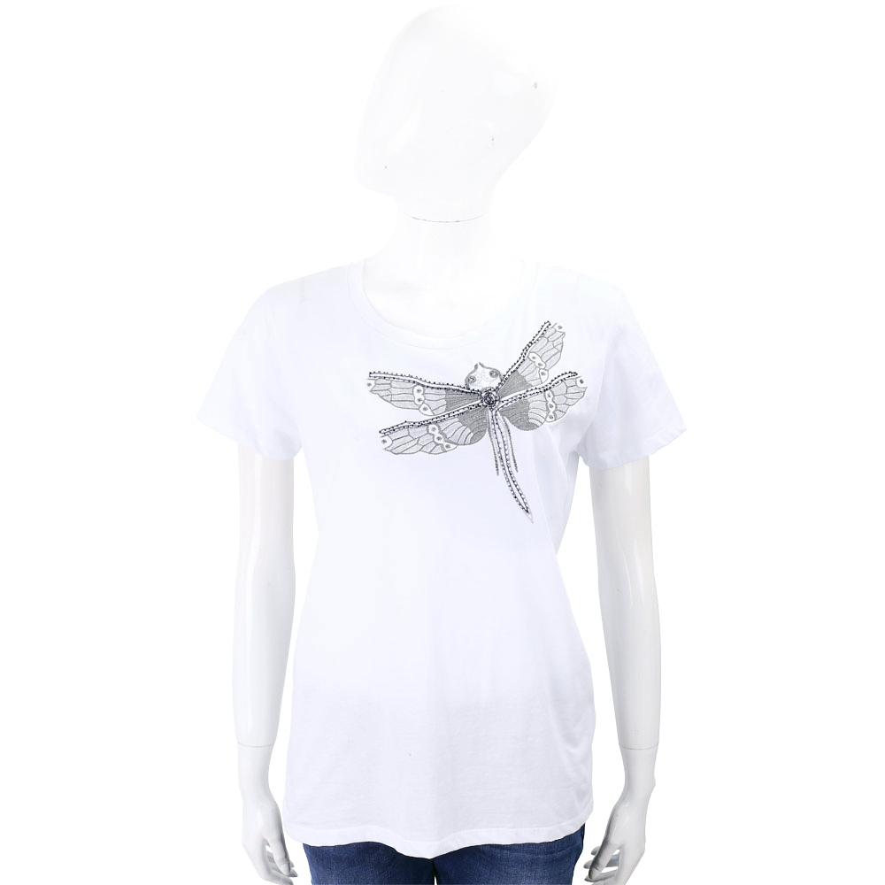 BLUGIRL-FOLIES 蜻蜓刺繡串珠飾白色棉質T恤