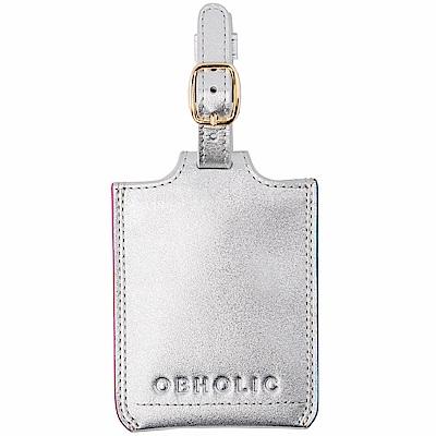 OBHOLIC 銀色牛皮行李吊牌旅行識別證套