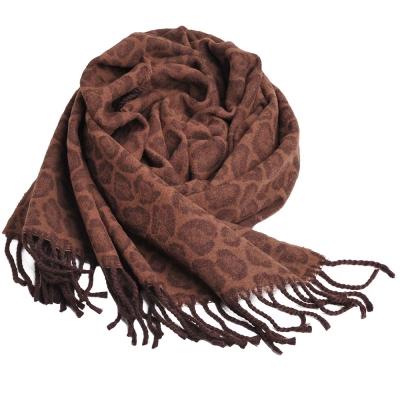 YSL 經典刺繡字母LOGO 100%羊毛豹紋披肩(咖啡系色)