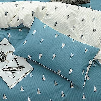 鴻宇HongYew 100%精梳棉 森林小樹 藍枕套2入