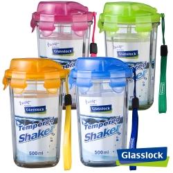 [四入組]Glasslock強化玻璃環保攜帶型水杯500ml - 繽彩款