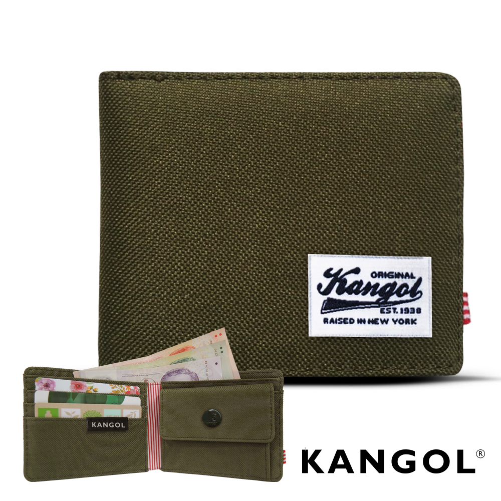 KANGOL 韓式潮流 多夾層/零錢袋橫式短皮夾+鑰匙圈禮盒-帆布綠