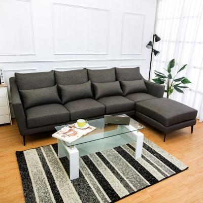 Boden 蘭德L型灰色防潑水亞麻布沙發(四人座+腳椅)(送腰枕)