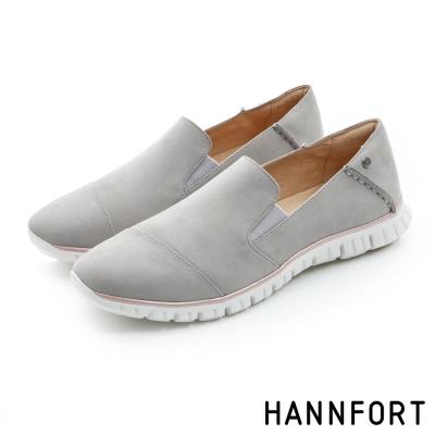 HANNFORT ZERO GRAVITY真皮套入式氣墊休閒鞋-女-優雅灰