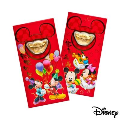 Disney迪士尼系列金飾-黃金元寶紅包袋-兩小無猜+歡樂夢境款
