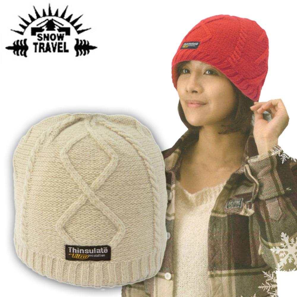 【SNOW TRAVEL】3M Thinsulate高級素面麻花保暖羊毛帽.毛線帽