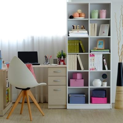 【EASY HOME】實心12格可調式書櫃 (雪紡白)