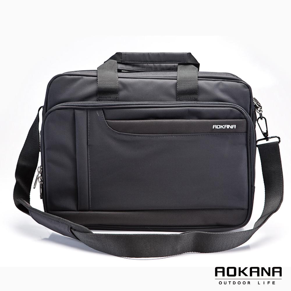 AOKANA奧卡納 YKK拉鍊 台灣製輕量多隔層可入15吋筆電商務公事包(黑)02-006