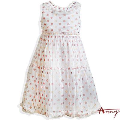 繽紛點點荷葉圓領飄逸裙襬洋裝*4126桔
