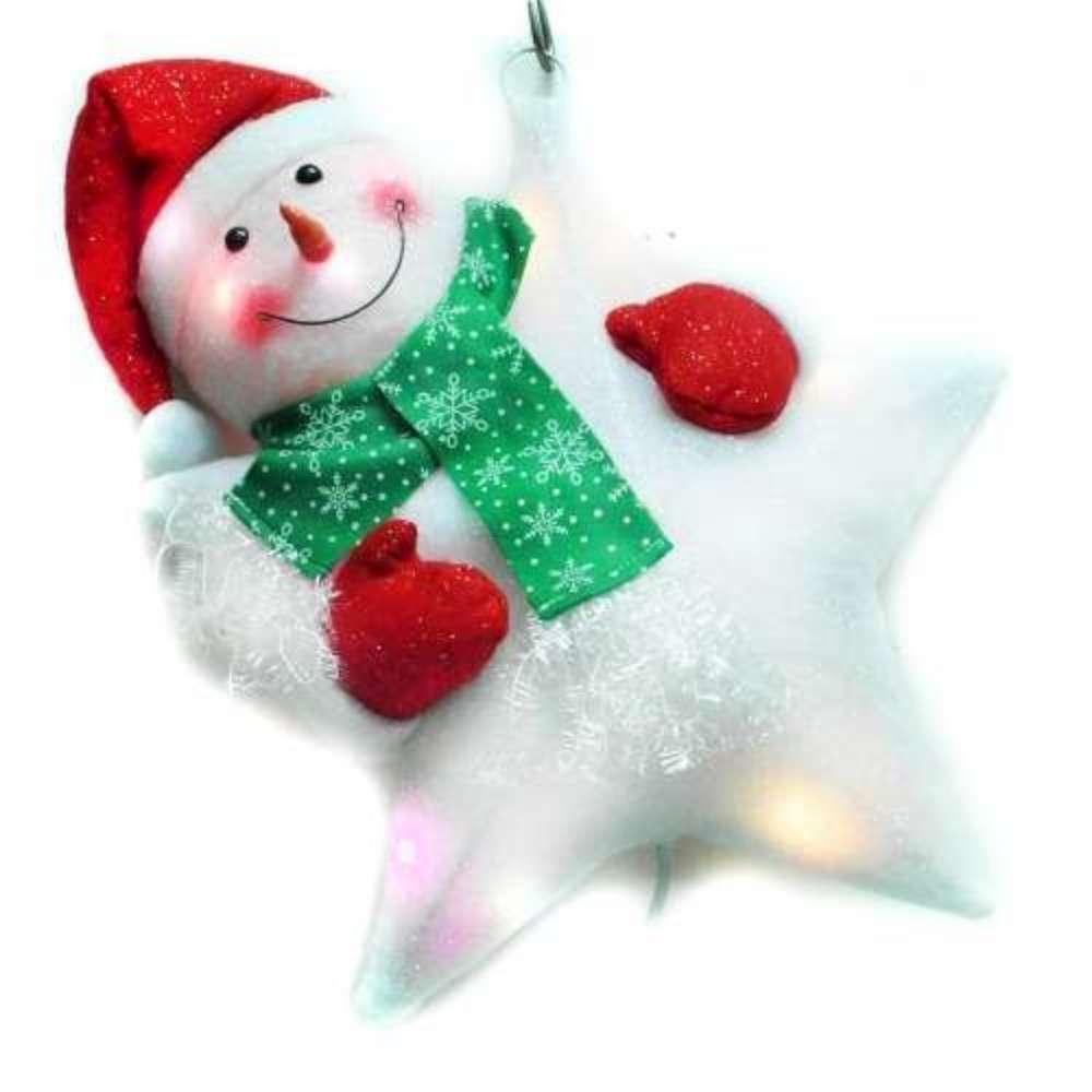交換禮物-聖誕LED燈25燈雪人抱星星造型燈吊飾SCL-49(插電式-自動閃爍變換光色)
