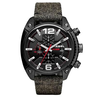 DIESEL 機械型男個性三環時尚腕錶-黑/49mm