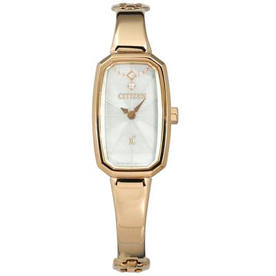 CITIZEN XC 光動能晶鑽點綴酒桶型不鏽鋼手錶-銀x鍍香檳金/15mm
