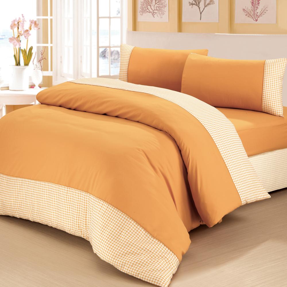 原色布屋 水漾格子 單人三件式被套床包組 土黃