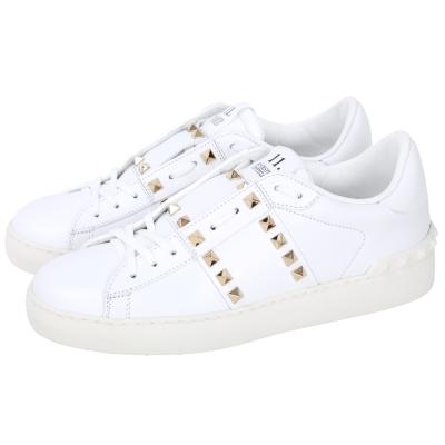 VALENTINO ROCKSTUD 鉚釘綁帶小牛皮休閒鞋(白色)