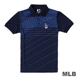 MLB-洛杉磯道奇隊條紋印花POLO衫-深藍 (男)