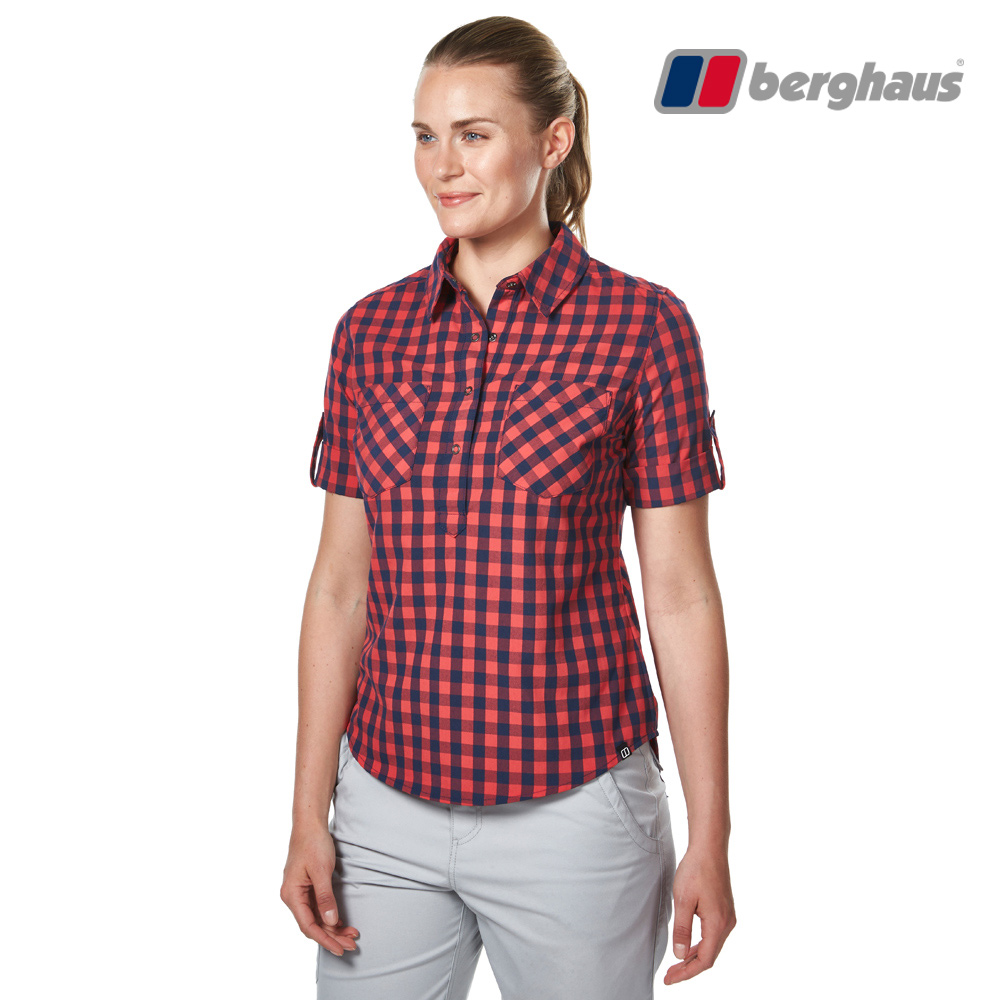 【Berghaus貝豪斯】女款銀離子抗菌除臭抗UV短袖襯衫S06F44紅
