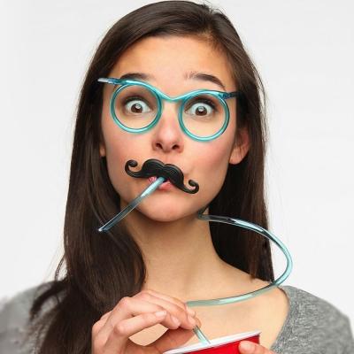 大人小孩一起玩-趣味眼鏡-搞笑造型-吸管眼鏡3入
