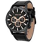 POLICE 強悍戰警三眼計時手錶-黑X玫瑰金/43mm