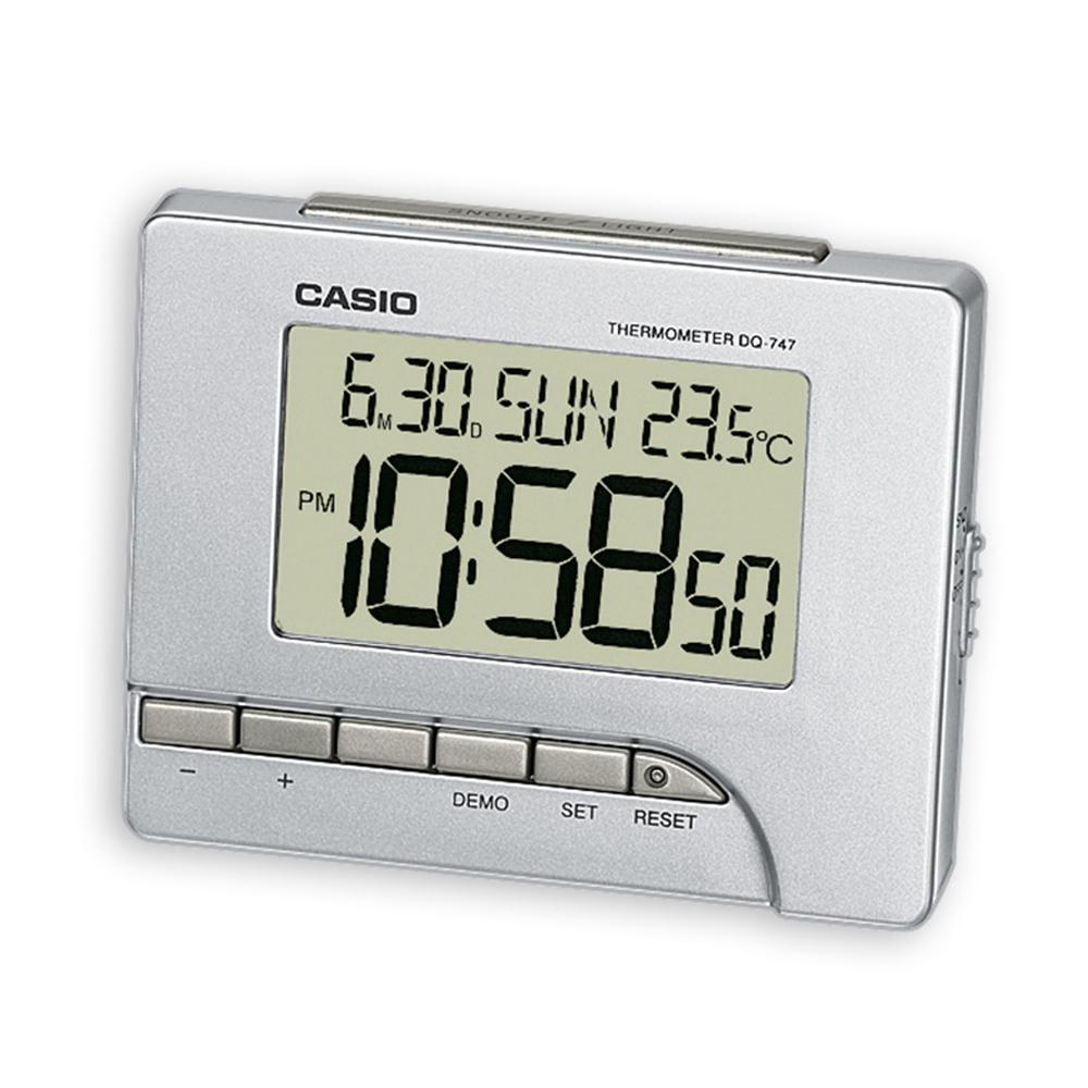 CASIO  測溫型數字電子鬧鐘(銀)