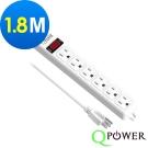 Qpower太順電業 太超值系列 TS-316B 3孔1切6座延長線-1.8米
