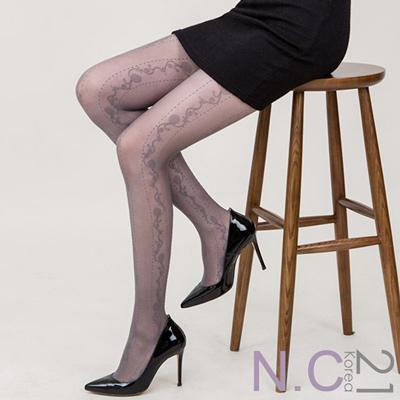 N.C21- 正韓浪漫花朵緹花透膚絲襪 (灰色)