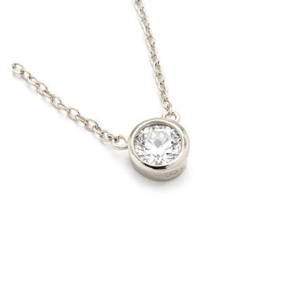 SHASHI 紐約品牌 Solitaire 圓形單鑽項鍊 銀色 925純銀鑲18K