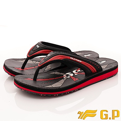 GP時尚涼拖-休閒舒適夾腳拖鞋-SE565M-14黑紅(男段)