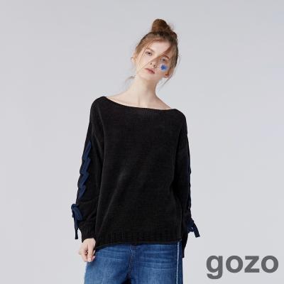 gozo浪漫主義綁帶雪絨紗毛衣 (二色)