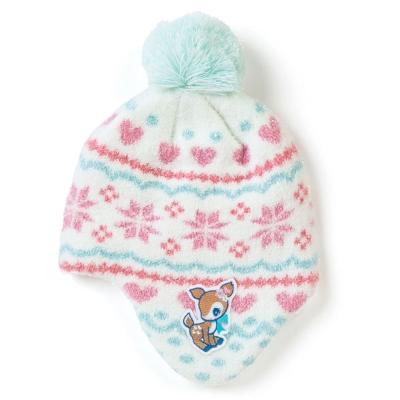 Sanrio  哈妮鹿女童可愛球球保暖針織毛帽(KIRAKIRA)