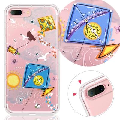 YOURS APPLE iPhone7 Plus 奧地利水晶彩繪防摔氣墊手機鑽殼-晴空