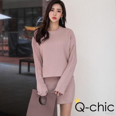 正韓 純色長袖針織衫+短裙套裝 (共三色)-Q-chic