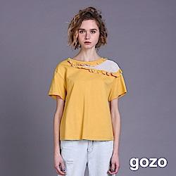 gozo 網布拼接挖肩荷葉斜領短袖棉T(二色)