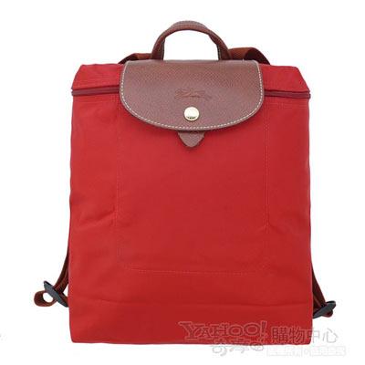 Longchamp 經典Pliage摺疊款式造型雙肩後背包(紅)