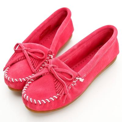 MINNETONKA 粉紅色麂皮素面莫卡辛 女鞋 (展示品)