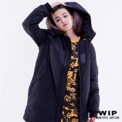 WIP X 2% 長版連帽鋪棉外套_黑