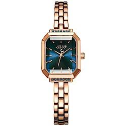 JULIUS聚利時 巴黎戀人復古方形鍊帶腕錶-玫瑰金X深邃藍/20X17mm
