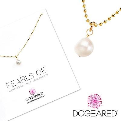 Dogeared 白色珍珠項鍊 正圓款 純銀鑲K金 閃亮小圓珠鍊設計 18英吋 附原廠盒