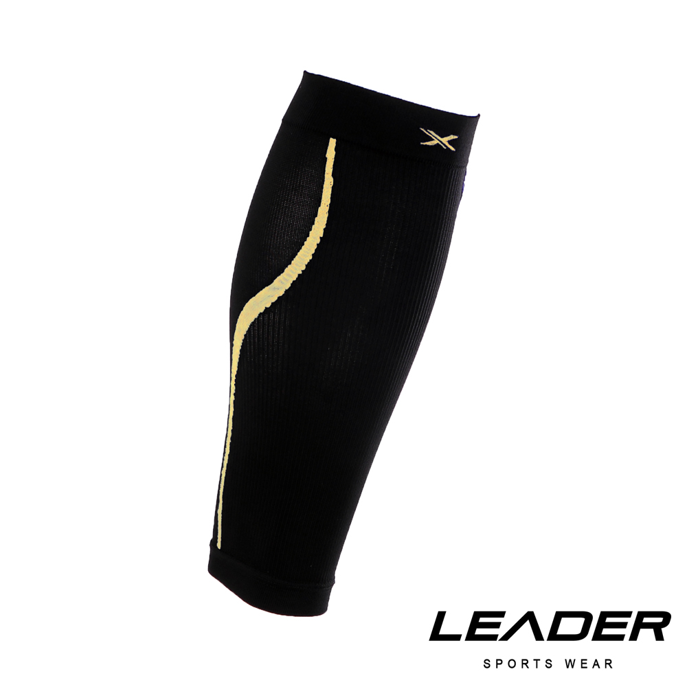 LEADER 進化版 運動專用V型壓縮小腿套 護腿套 一只入 黑底黃線