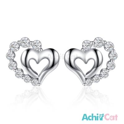 AchiCat 925純銀耳環 真愛宣言 純銀耳針 愛心