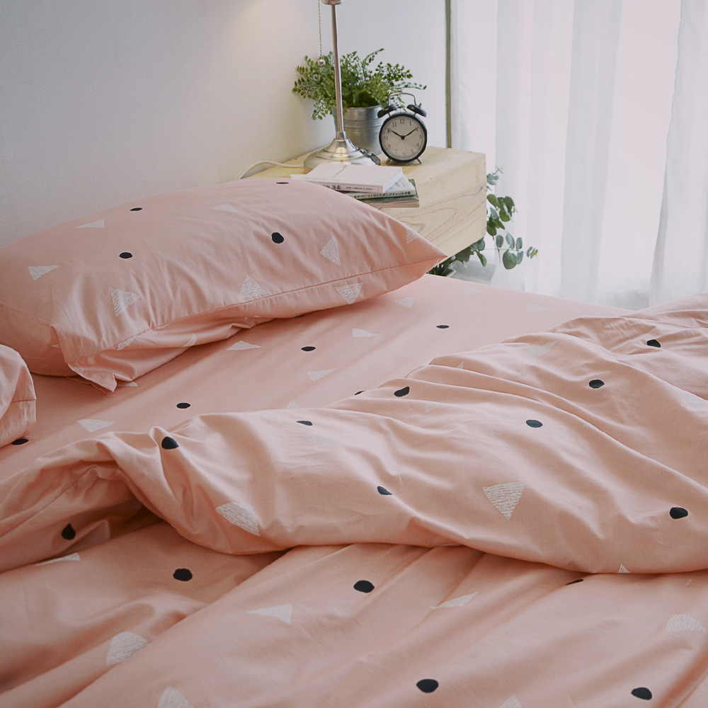 絲薇諾 MIT精梳純棉 法式甜派-粉色 雙人四件式-薄床包薄被套組