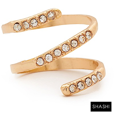 SHASHI 鑲鑽尾戒 指節戒 指間戒 三層旋轉造型 SWIRL PAVE